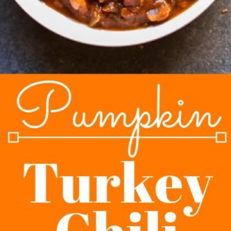 This pumpkin turkey chili recipe is sweet and spicy, the perfect combination of pumpkin, ground turkey, warming spices, and lots of black beans. Yum!