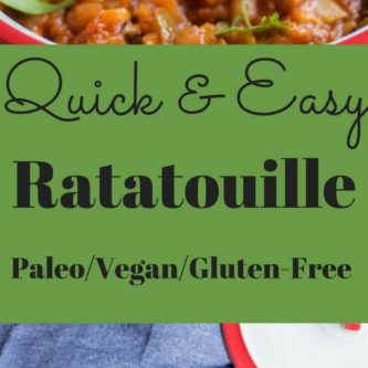 Quick and Easy Ratatouille. A summer staple with fresh veggies quickly simmered together with tomato. Vegan, Paleo, Gluten Free. |Abraskitchen.com