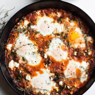 Ratatouille Shakshuka with Kale and Feta Cheese