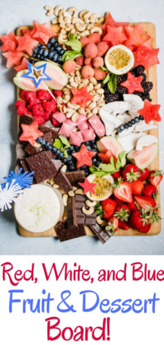 A festive healthy dessert board loaded with seasonal fruits, nuts, chocolate, and a heavenly whipped lime honey ricotta dip. The perfect party platter to wow your friends and family.