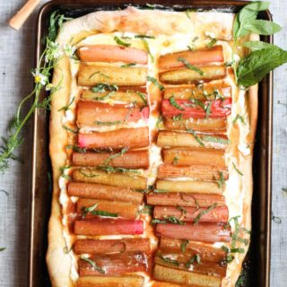 Roasted Rhubarb Flatbread with Ricotta Cheese, Honey, and Mint