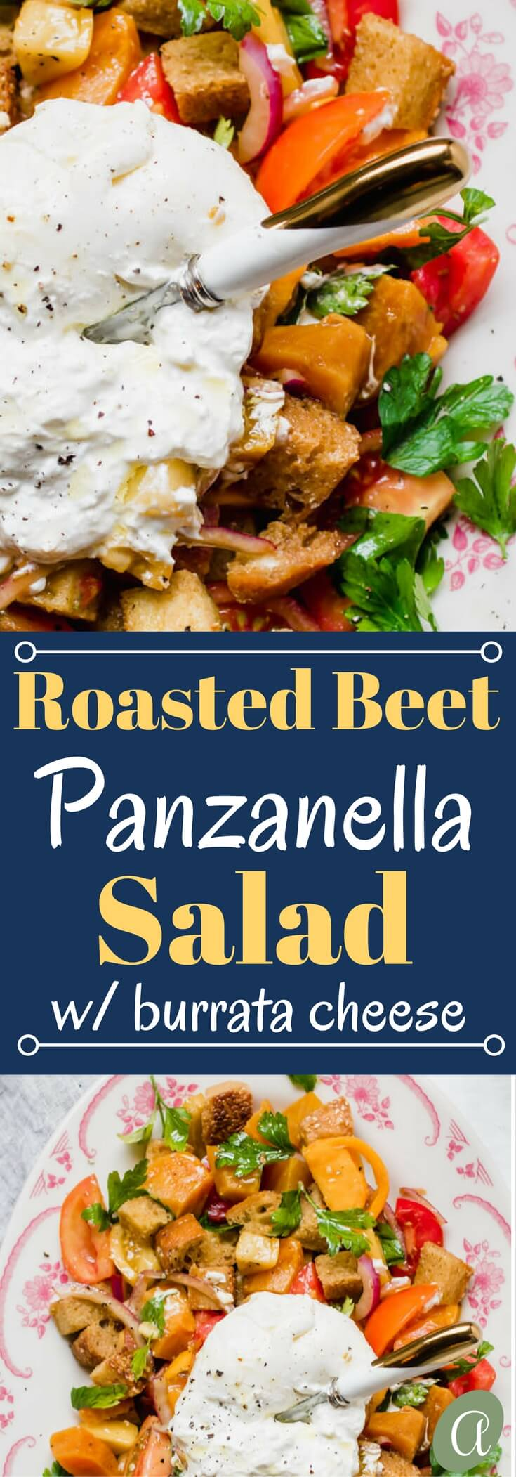 Roasted Beet Panzanella Salad - toasted bread with roasted beets, fresh tomato, parsley, and creamy burrata cheese all tossed together with a bright and tangy balsamic vinaigrette. An easy to prepare nourishing and insanely delicious salad.