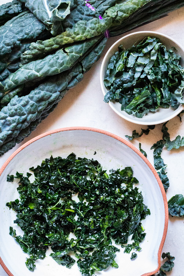 shredded and massaged kale