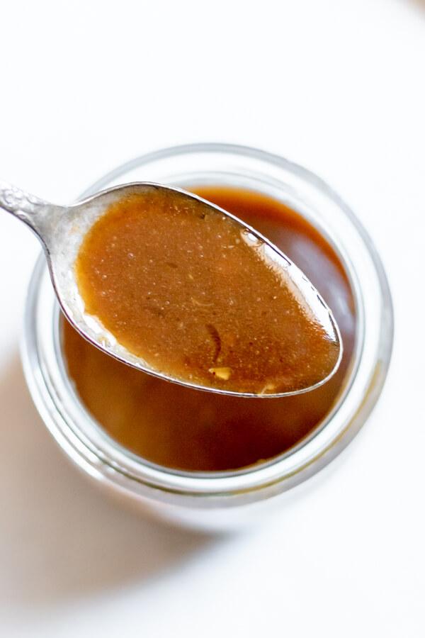 close up of honey balsamic vinaigrette