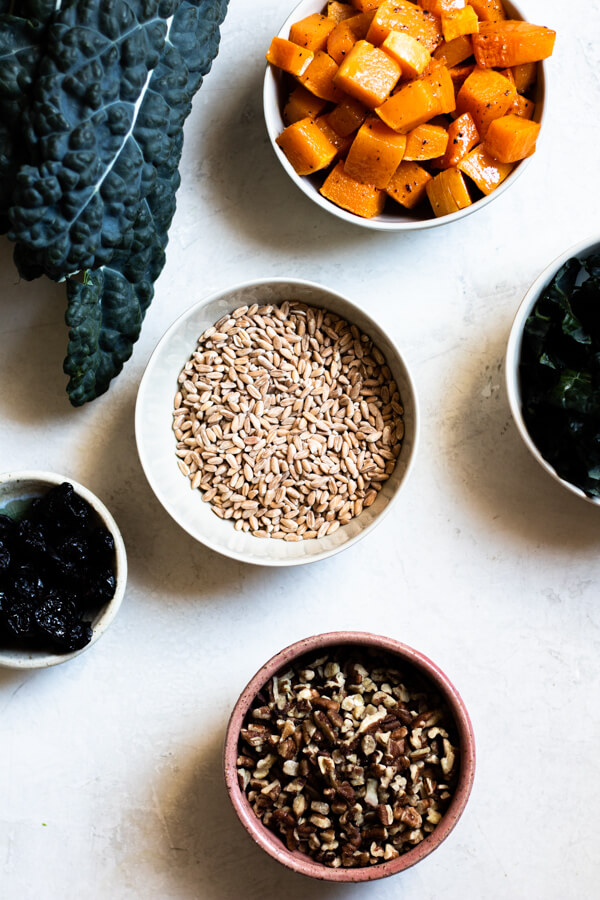 ingredients for Butternut Squash and Kale Farro Salad with Dried Cherries and Pecans