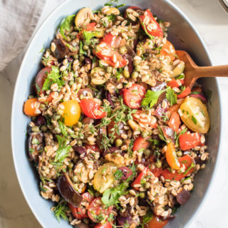 Mediterranean Farro Salad with Roasted Eggplant