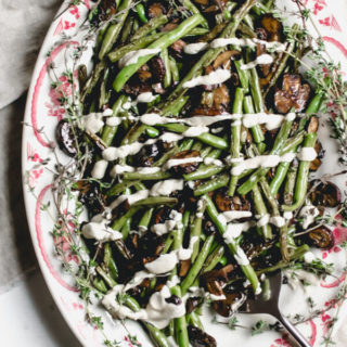Roasted Green Beans and Mushrooms with Creamy Onion Sauce