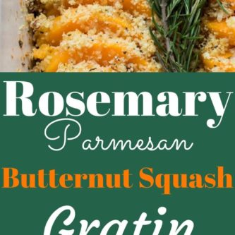 Roasted butternut squash coated with a shallot garlic butter and then topped with crunchy parmesan rosemary breadcrumbs.  Thanksgiving side dish. Gluten Free (with GF breadcrumbs), Yummy! |abraskitchen.com #sidedish #Thanksgiving
