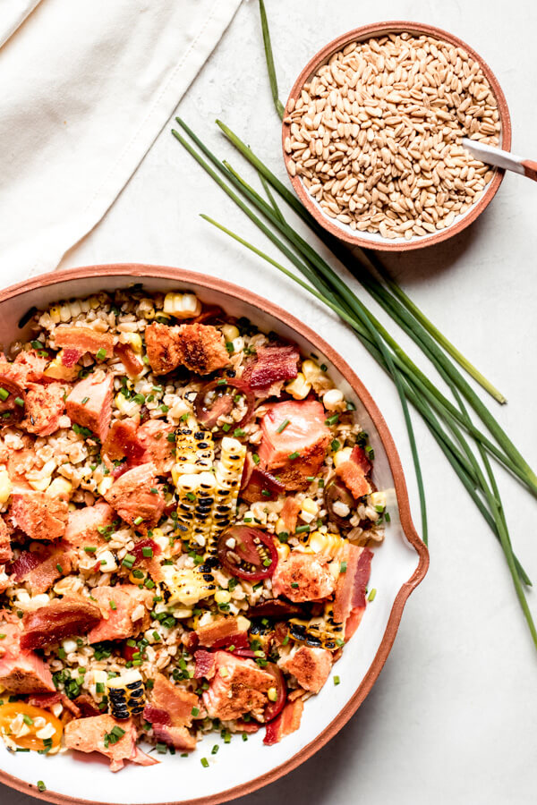 Salmon Farro Salad with Corn and Bacon