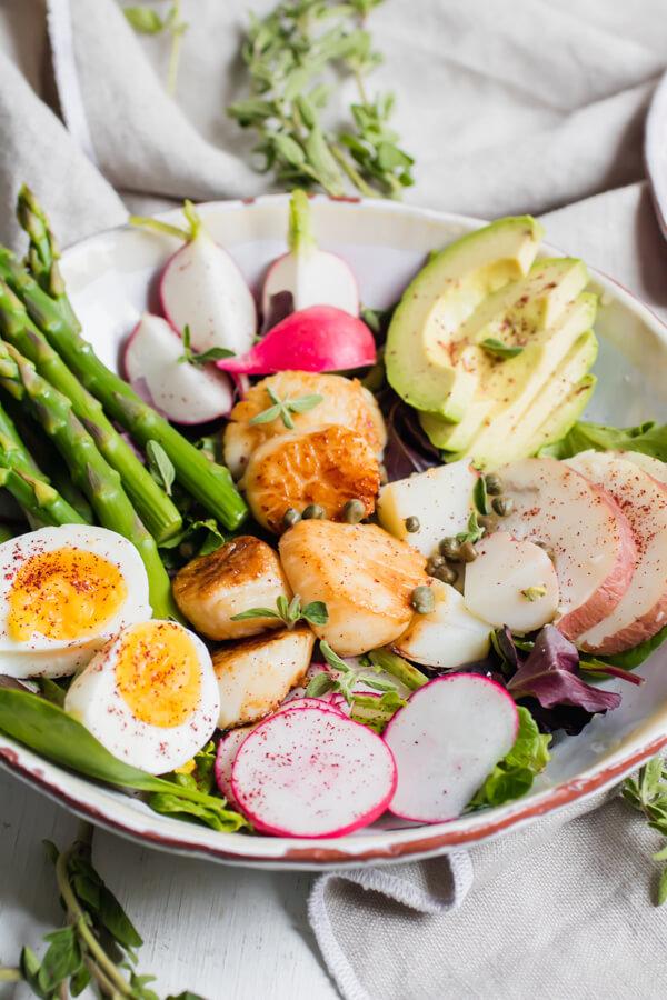 Scallop Nicoise Salad with Caper Vinaigrette