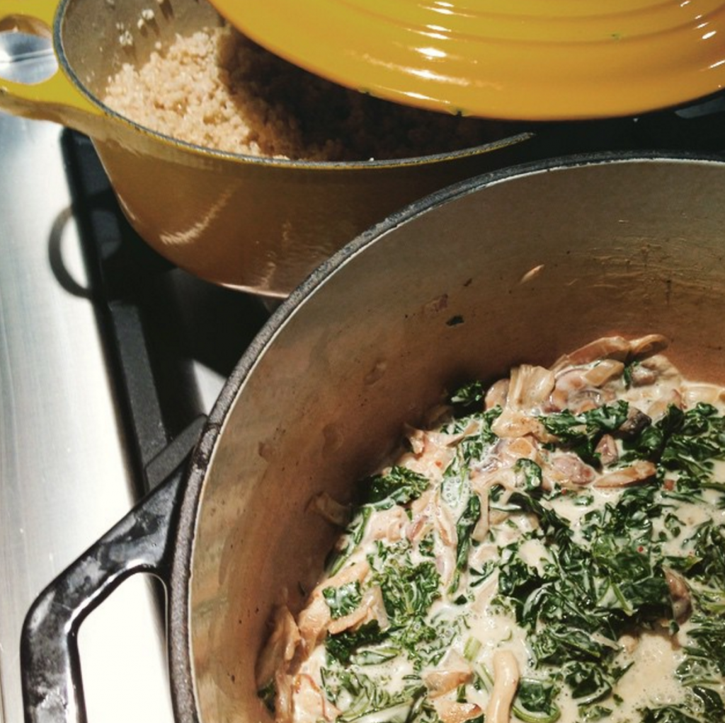 Creamy Quinoa with Mushrooms and Kale
