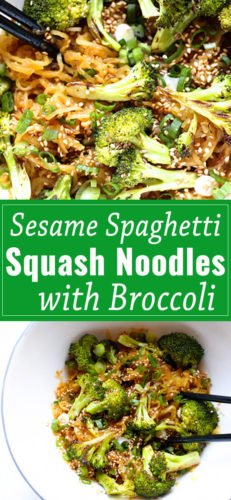 Sesame Spaghetti Squash Noodles with Broccoli, an easy to prepare, crave-able dish that you will make over and over again.