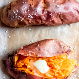Simple Baked Sweet Potatoes on a Sheet Tray