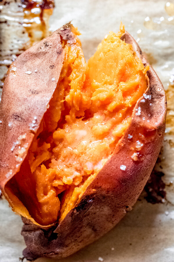 Simple baked sweet potato with butter