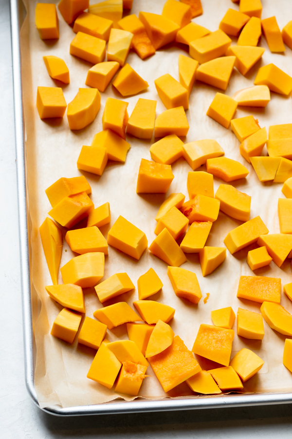 Sheet pan of Easy Roasted Butternut Squash