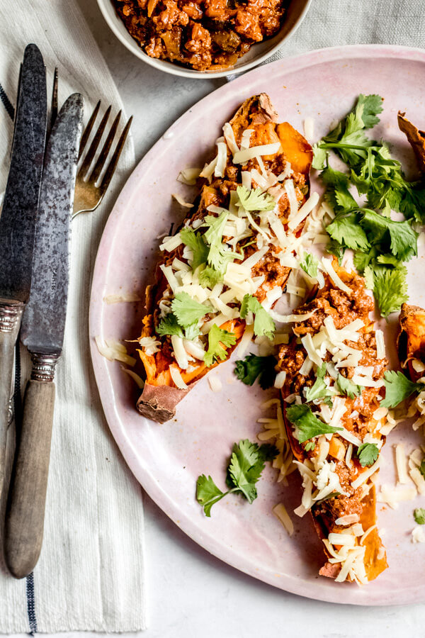 Healthy Sloppy Joe Stuffed Sweet Potato