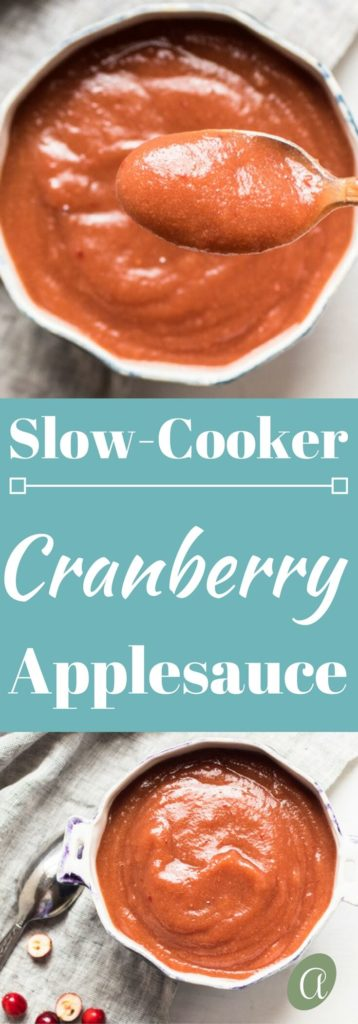 Perfectly sweet and tart, and supremely easy slow cooker maple cranberry applesauce. Refined sugar free, paleo friendly, and the ideal seasonal treat!