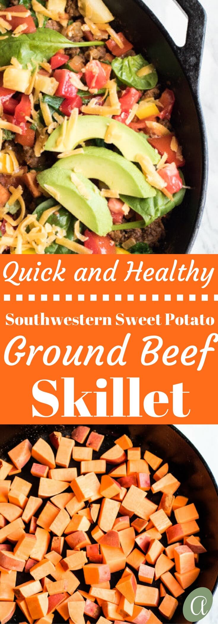 Southwestern sweet potato and ground beef skillet is loaded with fresh veggies and topped with cheese and avocado. A healthy, easy, and delicious dinner that your whole family will love. Ready in 30 minutes!