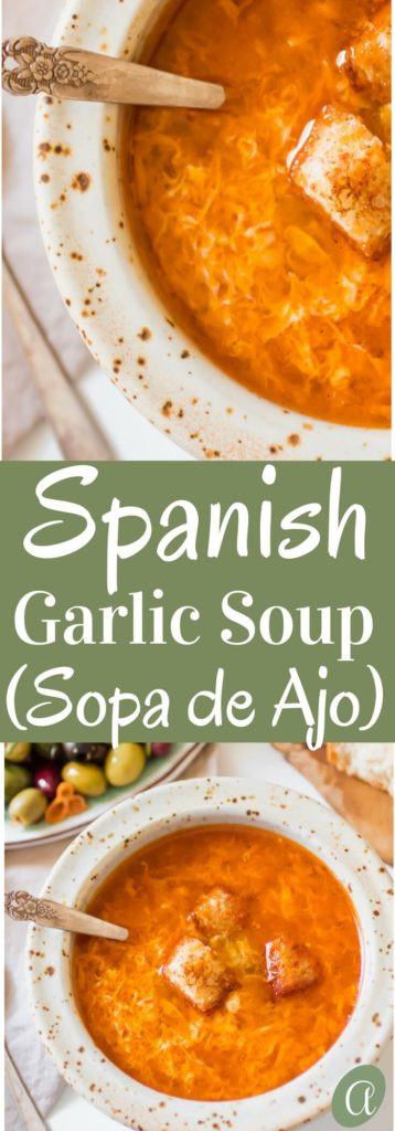 Healthy Spanishgarlic soup, or Sopa de Ajo. A humble recipe using 7 simple ingredients and is ready in 15 minutes from start to finish. The most nourishing bowl of healthy restorative soup.