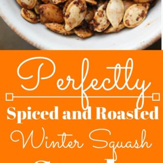 Perfectly roasted seeds from acorn, butternut, spaghetti, or delicata squash. Salty, crunchy, spicy and addictively delicious. Also full of nutrients and minerals! |abraskitchen.com #roastedseeds #pumpkinseeds