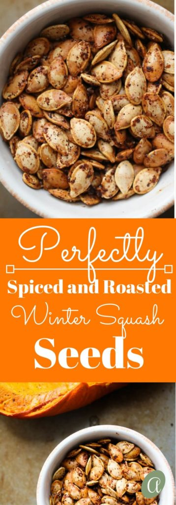 Perfectly roasted seeds from acorn, butternut, spaghetti, or delicata squash. Salty, crunchy, spicy and addictively delicious. Also full of nutrients and minerals!  abraskitchen.com #roastedseeds #pumpkinseeds