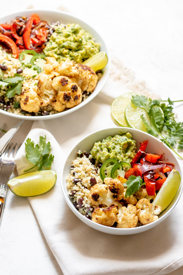 Spicy Cauliflower Burrito Bowl with toppings