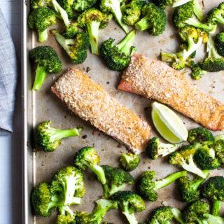 Spicy Crunchy Salmon Sheet Pan Dinner