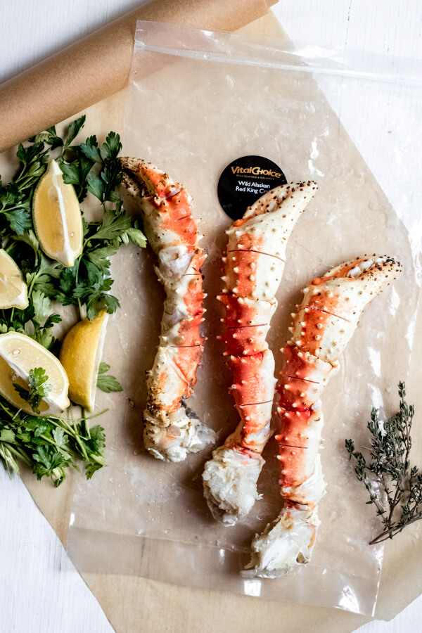 Steamed Crab Legs with Herb Shallot Butter