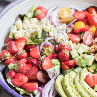 Strawberry Avocado Salad with Crumbled Blue Cheese