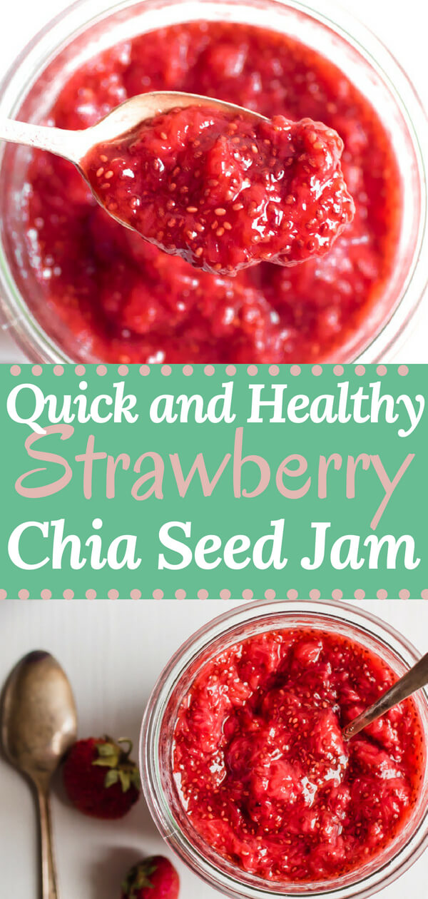 Quick and easy superfood strawberry chia seed jam. Three ingredients, 10 minutes. Paleo | Gluten Free | Vegan | Strawberry Jam | Homemade Strawberry Jam | Chia Seed Jam | Healthy Jam | Sugar Free Jam |