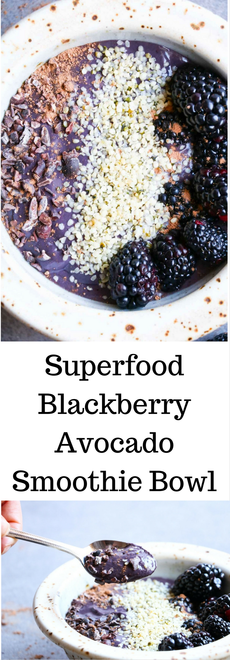 This vegan superfood blackberry avocado smoothie bowl is low in sugar, high in antioxidants and good for you fat. You eat this smoothie with a spoon and then walk through the pearly gates of breakfast heaven. #vegan #smoothiebowl