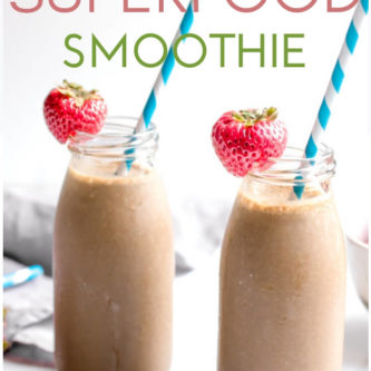 Superfood Chocolate Strawberry Smoothie tastes like a yummy chocolate covered strawberry and loaded with good for you superfoods!