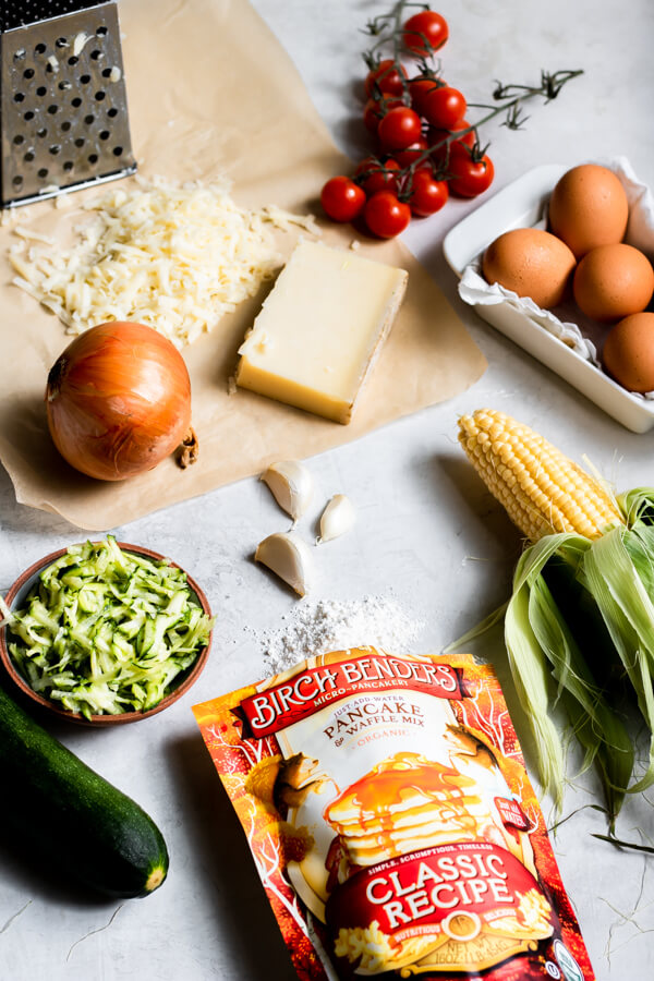 Ingredients for Vegetarian Sweet Corn and Zucchini Pie