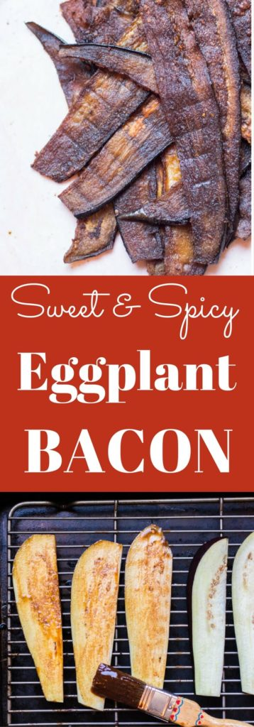 Sweet and salty crisp vegan bacon made with eggplant. A plant-based alternative to bacon, no liquid smoke needed | abraskitchen.com