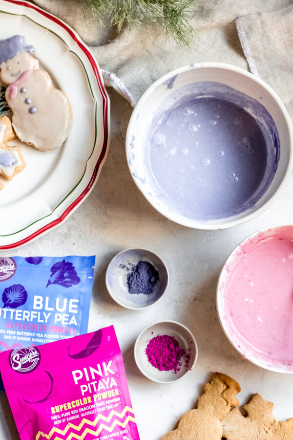ingredients for naturally dyed icing for almond flour sugar cut out cookies