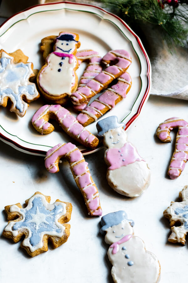 The Best Almond Flour Sugar Cookies on a Christmas plate