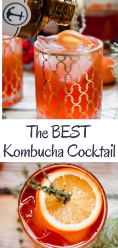 Ring in the holidays with a refreshing and delicious low alcohol cocktail. A twist on a traditional Americana Cocktail using kombucha for a little extra gut health love. The perfect light, tasty, fresh cocktail for a holiday party!