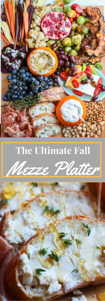 The ultimate fall mezze platter with zatar spiced hummus, roasted acorn squash, thyme honey goat cheese crostini, and more! |abraskitchen.com