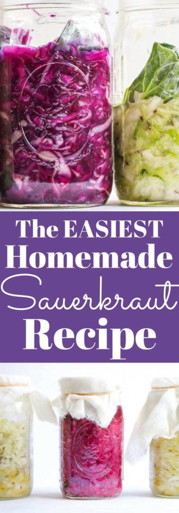 The easiest homemade sauerkraut recipe in a mason jar. No special equipment needed. #Fermentation #Guthealth |abraskitchen.com