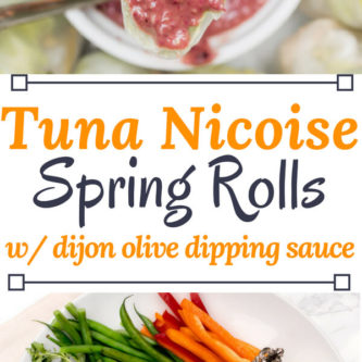 Get ready for the perfect healthy summer dish, Tuna Nicoise Spring Rolls. All the deliciousness of a tuna Nicoise salad wrapped up in a tasty Spring Roll and served with a Dijon-olive dipping sauce. Perfect for a light lunch, or as a refreshing appetizer at your next BBQ.