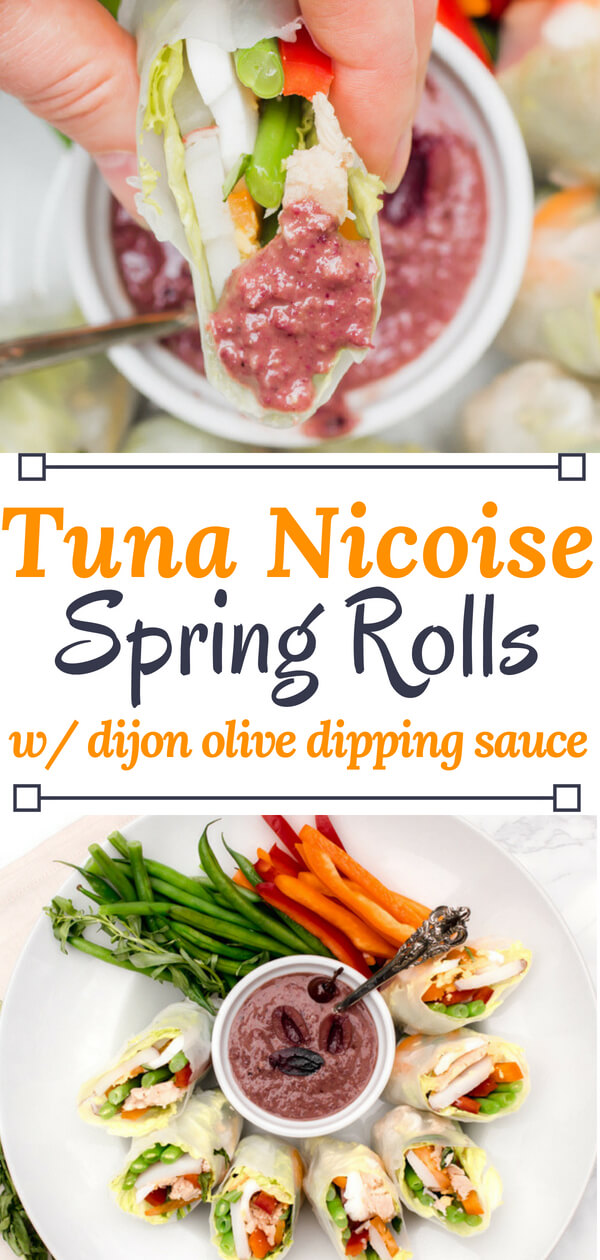 AD - Get ready for the perfect healthy summer dish - Tuna Nicoise Spring Rolls. All the deliciousness of a tuna Nicoise salad wrapped up in a tasty Spring Roll and served with a Dijon-olive dipping sauce. Perfect for a light lunch, or as a refreshing appetizer at your next BBQ. #tunanicoise #healthyspringroll #mediterranean