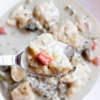 Creamy Turkey Dumpling Stew - close up on spoon