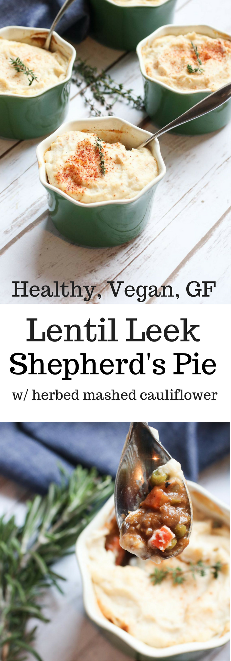 Vegan lentil shephards pie with mashed cauliflower. Next level comfort food, slowly simmered lentils and leeks topped with fragrant rosemary mashed cauliflower. Vegan, gluten-free, and totally delicious |abraskitchen.com
