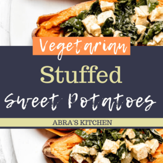 Kale and Tofu Stuffed Sweet Potato