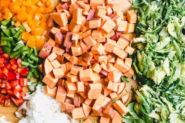 Chopped veggies for sweet potato hash