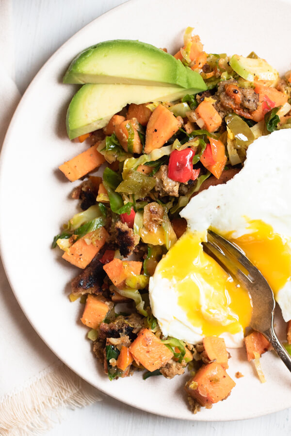 sweet potato hash with an egg on top