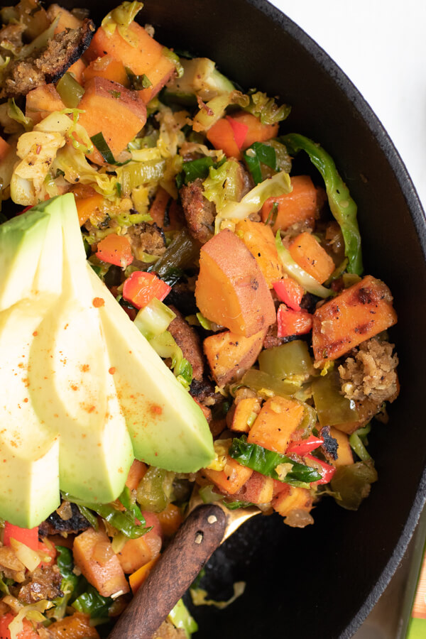 close up of a healthy sweet potato hash