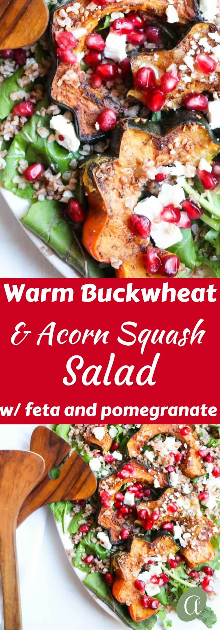 Insanely delicious five-spice roasted acorn squash salad with warm buckwheat, feta cheese, and pomegranate seeds. Gluten-free, festive and seasonal!