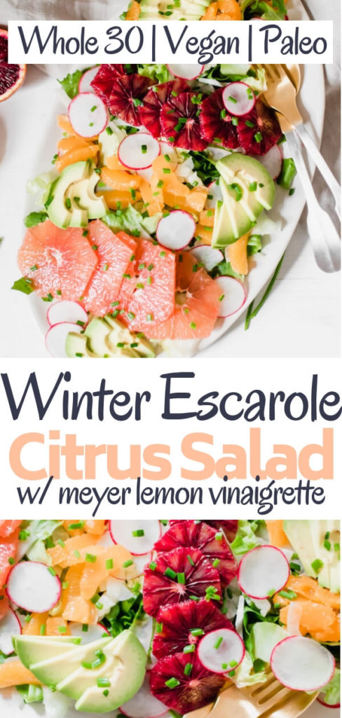 This winter escarole citrus salad is officially the star salad of the season! Featuring a variety of bright citrus like grapefruit, tangerine, and blood orange, fennel, radish, and creamy avocado. Lightly dressed with a robust and rich extra virgin olive oil Meyer lemon vinaigrette.