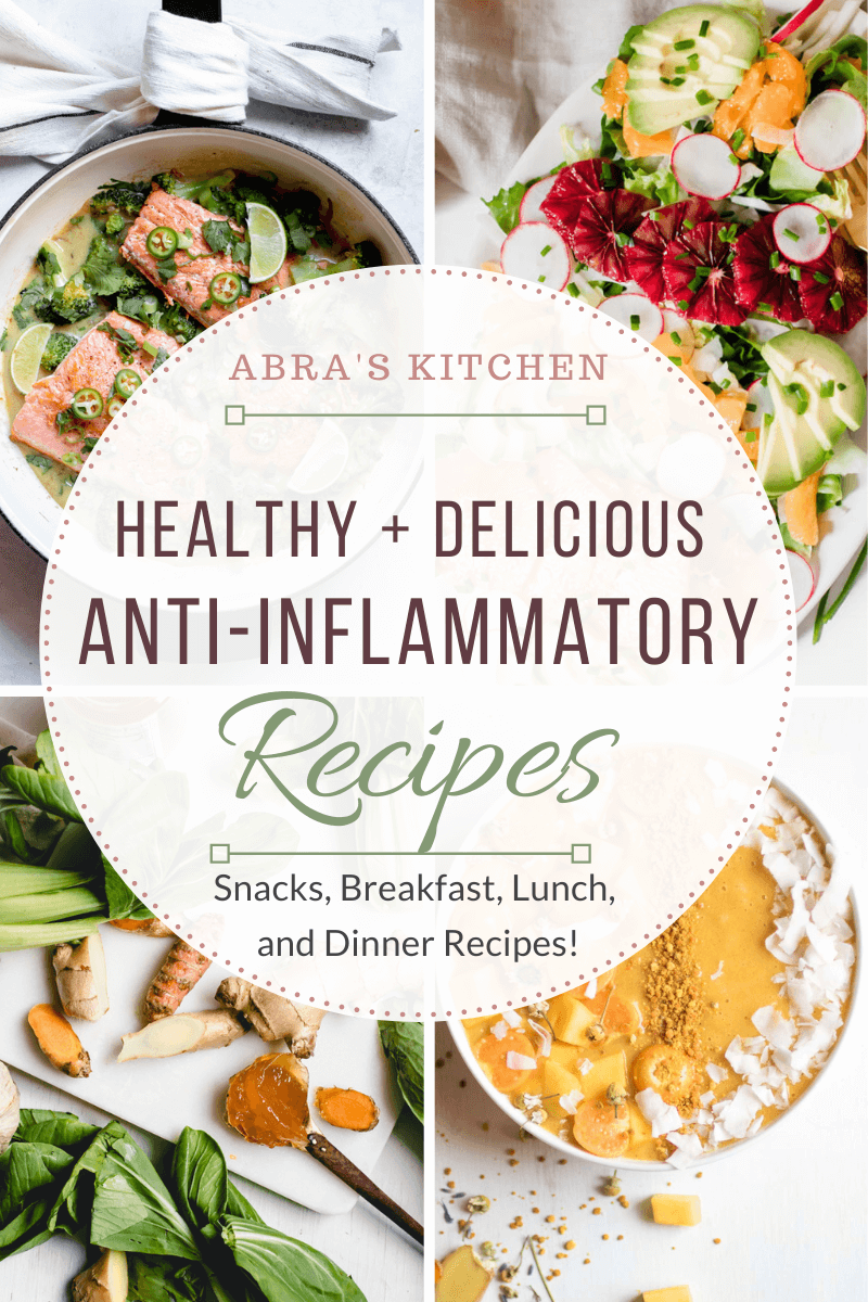 Anti-Inflammatory Recipes, graphic of 4 recipe photos